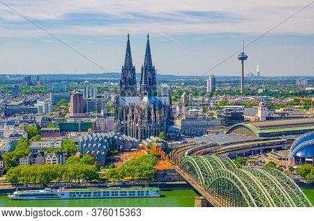 Aerial View Of Cologne Cityscape Of Historical City Centre With Cologne Cathedral, Central Railway S