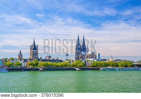 Cologne Cityscape Of Historical City Centre With Cologne Cathedral Of Saint Peter, Great Saint Marti