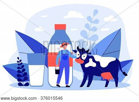 Happy Young Farmer Standing Near Cow Flat Illustration. Man Holding Bucket With Milk. Fresh Milk Wit
