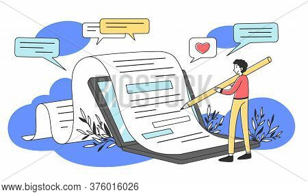 Content Author Writing Creative Article Flat Illustration. Writer Typing Text For Internet Blog Via