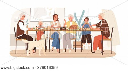 Joyful American Family Celebrating Holiday Sitting At Dining Table Vector Flat Illustration. Happy C