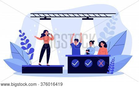Woman Signing At Talent Show Flat Illustration. Future Celebrity Singer Standing On Scene Or Stage I