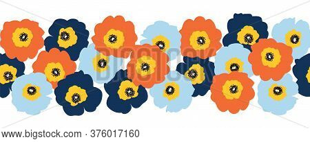 Seamless Vector Flower Border Red Orange And Blue Flowers. Repeating Floral Pattern Scandinavian Sty