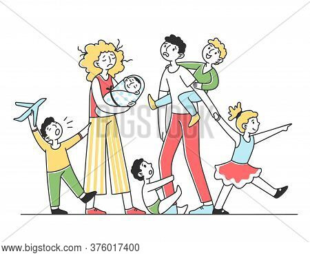 Tired Young Family With Many Children Flat Illustration. Father And Mother Exhausted Under Life Rout