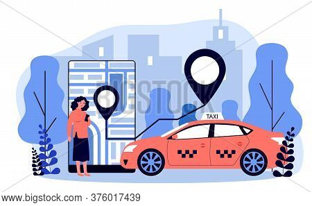 Young Woman Taking Cab Via Mobile App Flat Illustration. Lady Tracking Car Route On City Map In Taxi