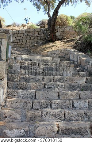 Tel Aviv, Israel - May 19, 2011: These Are The Stone Old Stairs Of Abrasha Park, Located On The Hill