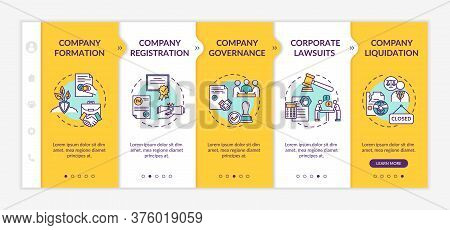 Company Life Cycle Onboarding Vector Template. Corporation Formation And Liquidation. Corporate Law.