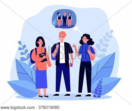 Young Teenagers Remembering Primary School. Memory, Child, Pupil Flat Vector Illustration. Communica