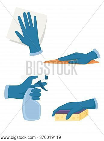 Set Of Hand In Gloves Use Cleaning Tools Spray Bottle Foam Rubber Sponge And Washcloth Flat Vector I