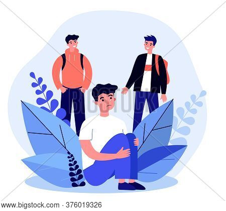 Young Guy Crying When Two Teenagers Laughing. Abuse, Loneliness, Problem Flat Vector Illustration. C