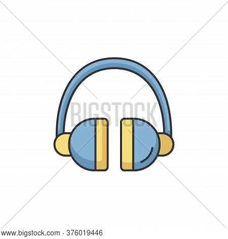 Headset Rgb Color Icon. Headphones To Listen Music. Wireless Dj Gear. Earphones For Call Center. Tec