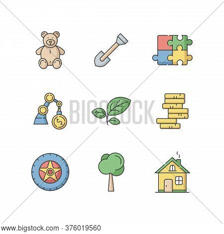 Store Departments Rgb Color Icons Set. Children Stuffed Toy. Plush Bear For Kid. Gear For Gardening.