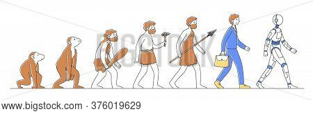 Way From Monkey To Cyborg Or Robot Flat Illustration. Humankind Progress From Caveman As Ancestor. H