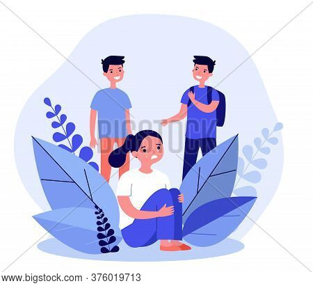 Girl Crying When Two Boys Laughing. Abuse, Insulting, Tear Flat Vector Illustration. Communication A