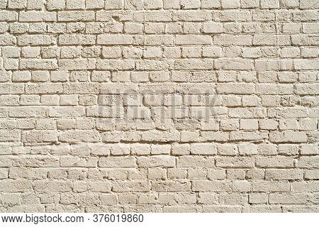 Beige Brick Wall. Loft Interior Design. Beige Paint Of The Facade.