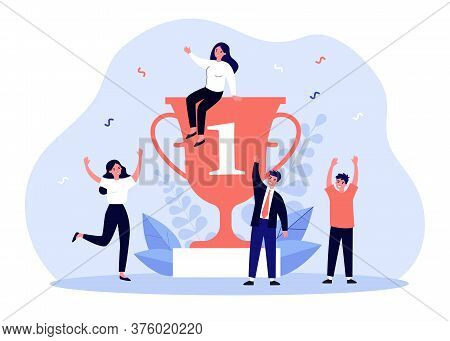 Team Of Happy Winners Celebrating Around Award Trophy. Group Of People Winning Champion Cup. Vector