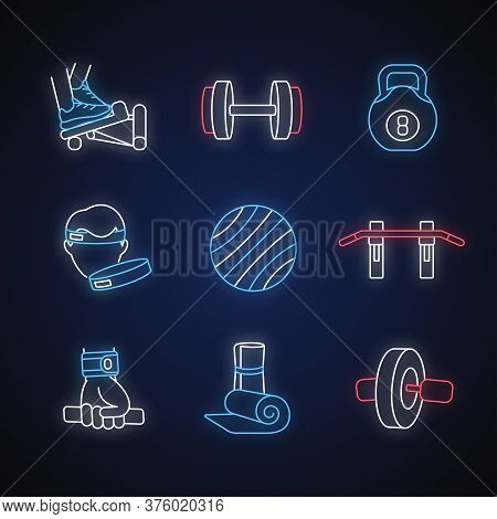 Workout Equipment Neon Light Icons Set. Strength Training, Fitness Exercise Signs With Outer Glowing