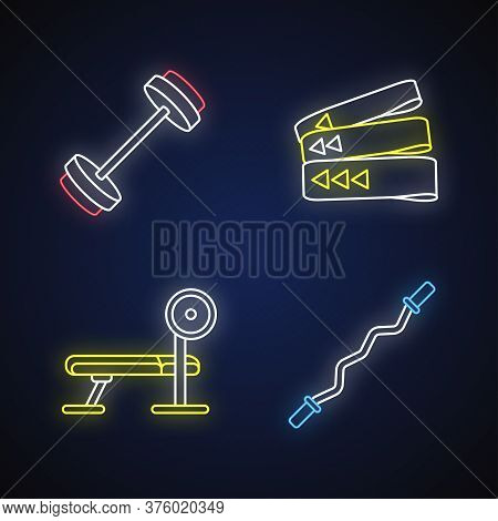 Bodybuilding Neon Light Icons Set. Barbell, Resistance Bands, Weight Bench And Curl Bar Signs With O