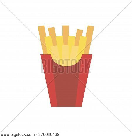 Vector Potatoes French Fries. French Fries In Paper Box. Flat Design. Snack Icon Vector.