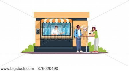 Guy Smoking Next To Snack Bar Semi Flat Rgb Color Vector Illustration. Couple Having Lunch. Snackbar