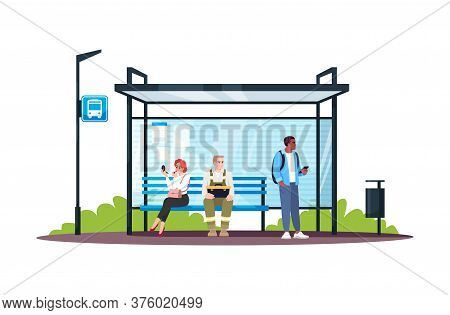 People Sitting At Bus Station Semi Flat Rgb Color Vector Illustration. Passengers Waiting For A Publ