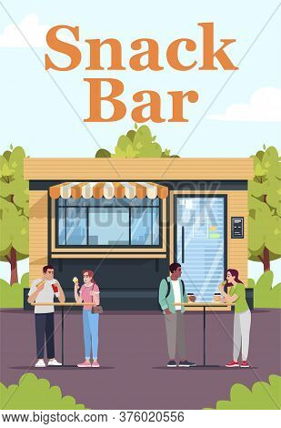 Snack Bar Poster Template. Commercial Flyer Design With Semi Flat Illustration. Vector Cartoon Promo