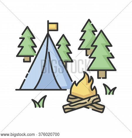 Camping Rgb Color Icon. Nature Tourism, Outdoor Recreation. Inexpensive Vacation, Overnight Stay In