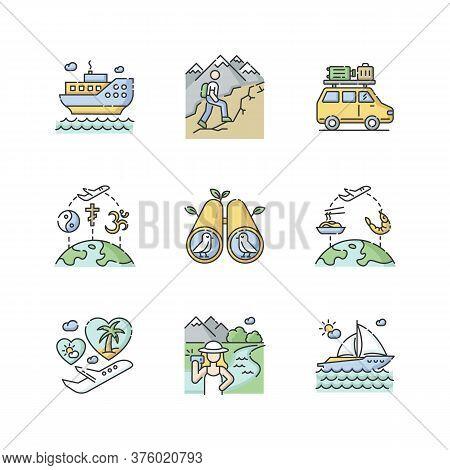 Vacation Trip Rgb Color Icons Set. Active Tourism, Adventure And Travel. Different Tourist Recreatio