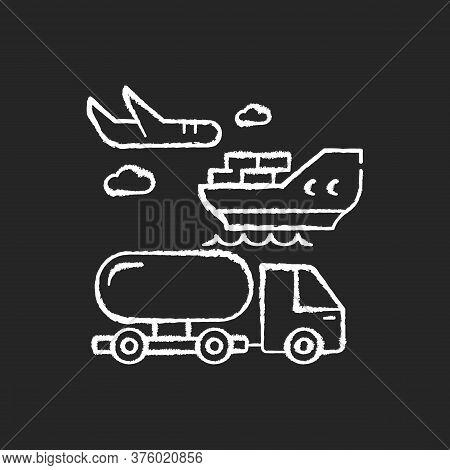 Shipping Chalk White Icon On Black Background. Freight Transportation, Delivery Service. Commercial