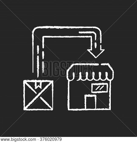 Post Manufacturing Chalk White Icon On Black Background. Post Production, Commercial Distribution. P