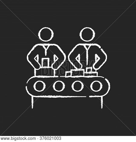 Assembly Chalk White Icon On Black Background. Manufacturing Process, Human Labor, Production Line.