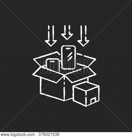 Packaging Chalk White Icon On Black Background. Post Manufacturing, Production Packing Process. Deli
