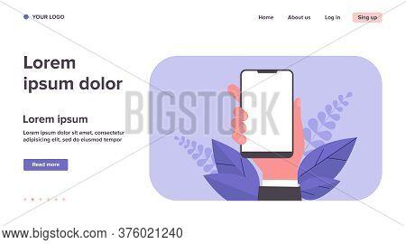Phone In Hand Flat Vector Illustration. Cartoon Hand Holding Mobile Phone, Making Blank Screenshot,