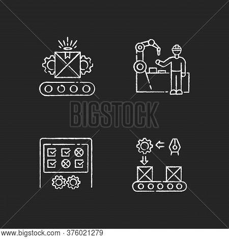 Continuous Production Flow Chalk White Icons Set On Black Background. Employees Training, Custom Man
