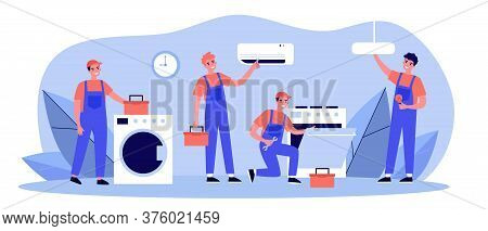 Happy Servicemen Repairing Machines At Home Flat Illustration. Electrician, Mechanic Or Repairer At