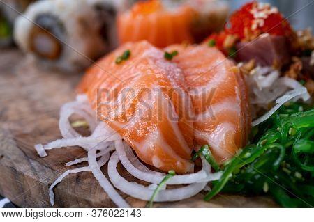 Japanese Food, Sashimi Made From Raw Salmon Fish