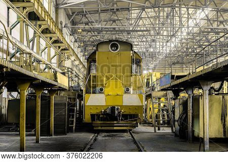 Diesel Locomotive In Depot On Service. Railway Transport.