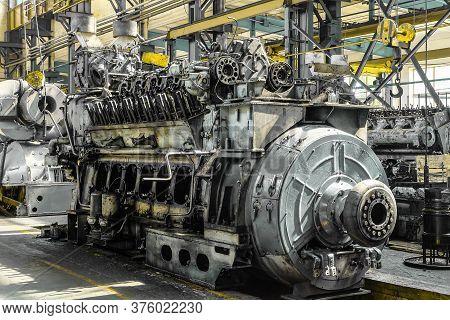 Diesel Locomotive Engine In A Repair Depot Room