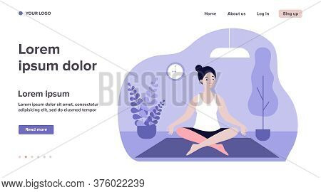 Woman Doing Morning Yoga At Home Flat Vector Illustration. Female Character Sitting In Calm Posture.