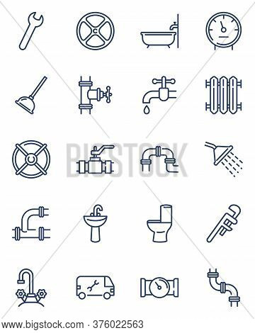 Plumbing Line Icons Set. Bath Pipes, Shower, Water, Toilet Drain, Valve, Tap. Thin Icon Collection F