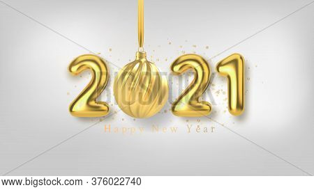 Happy New Year Background With Realistic Gold Inscription 2021 And Christmas Tree Toy Of Gold On A W
