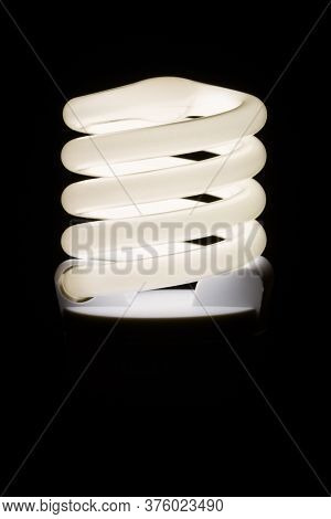 Fluorescent Light Bulb Isolated On Black Background. Economical Home Lighting. Energy Saving Concept