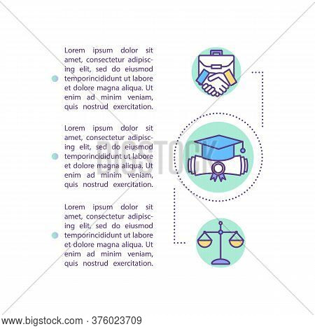 Lawyer Graduate Concept Icon With Text. Ppt Page Vector Template. Law Degree Qualification, Job. Att