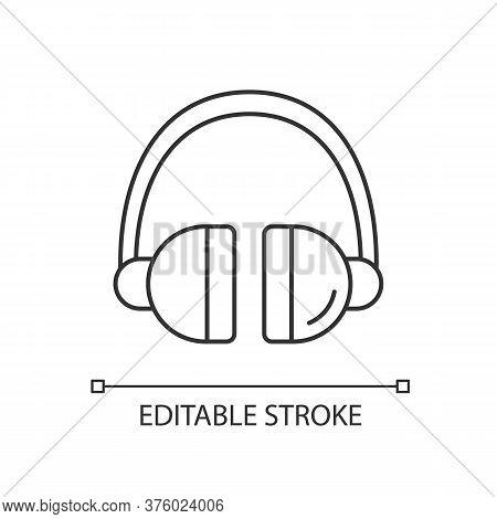 Headset Linear Icon. Headphones To Listen Music. Wireless Dj Gear. Earphones For Call Center. Thin L