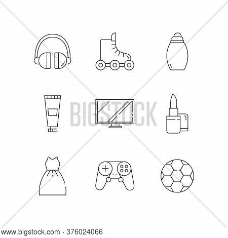 Online Shop Departments Linear Icons Set. Electronic Gadgets. Portable Device. Headset For Dj. Custo