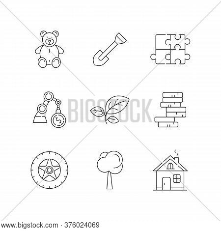 Store Departments Linear Icons Set. Children Stuffed Toy. Plush Bear For Kid. Gear For Gardening. Cu