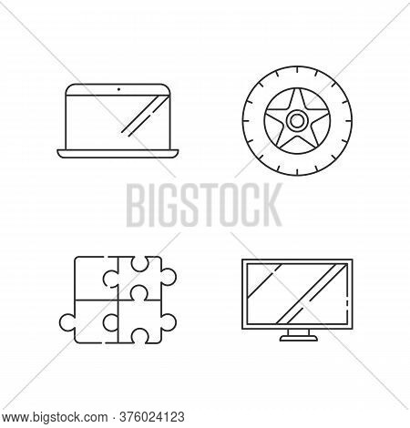 E Commerce Products Linear Icons Set. Electronic Devices. Automobile Tyre. Car Tire. Puzzle Toy. Cus