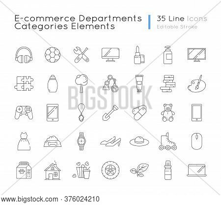 E Commerce Departments Linear Icons Set. Electronic Devices. Personal Beauty And Health Care Product