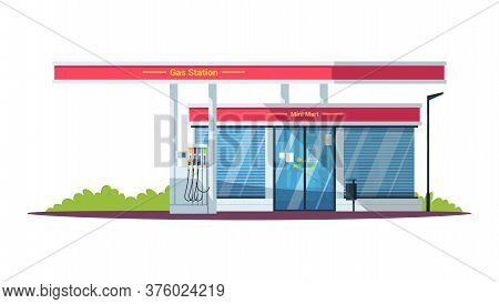 Gas Filling Station With Mini Mart Semi Flat Rgb Color Vector Illustration. Diesel, Gasoline, Gas Fu