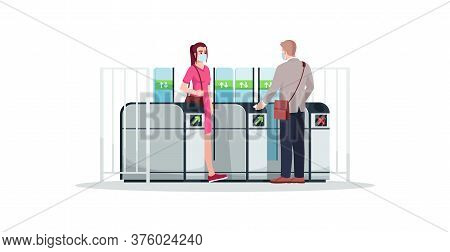 People At Turnstile Semi Flat Rgb Color Vector Illustration. Commuters Wearing Face Masks. Subway, M